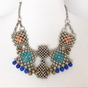 Anthropologie Pam Hiran Silver Beaded Bib Necklace